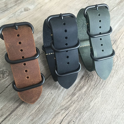 Nato strap 18mm 20mm 24mm 26mm Genuine leather straps