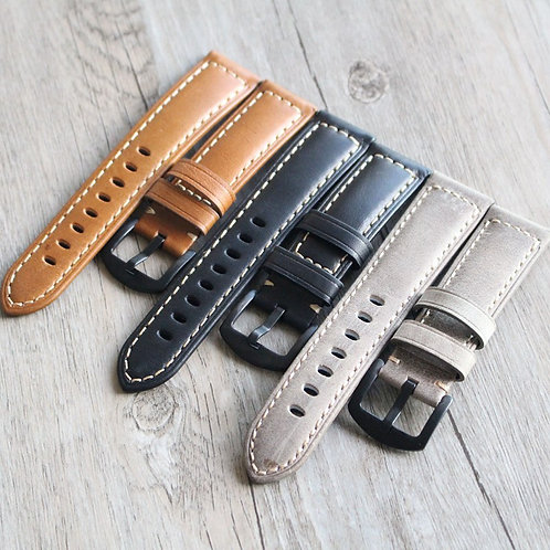 22mm 24mm 26mm soft cow leather straps handmade straps