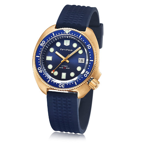 FF Bronze 6105 Blue dial 20mm waffle strap