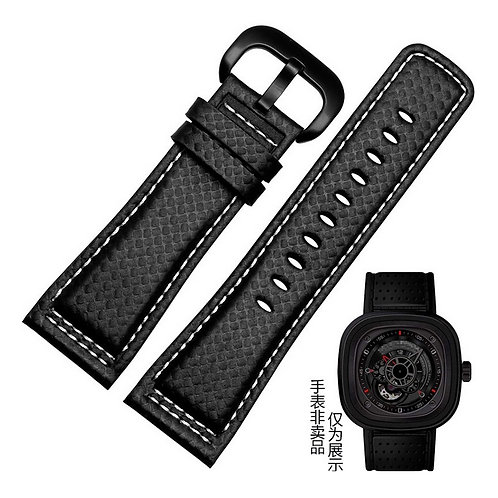 Seven Friday Carbon texture genuine leather strap 28mm