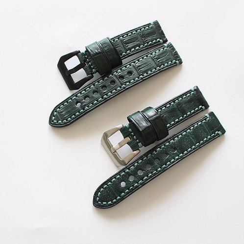20mm handmade green genuine crocodile leathers straps for mariner master watches