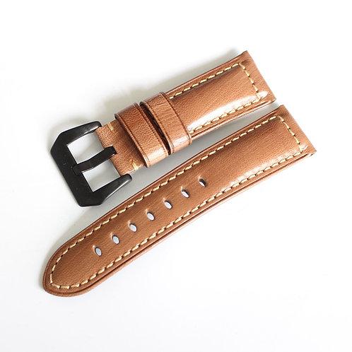 Shiny goat leather 20mm 22mm 24mm wax orange handmade straps