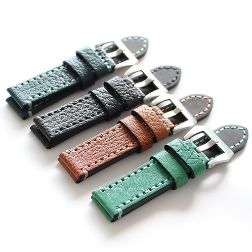 Cow leather strap 20mm 22mm 24mm Green black Brown