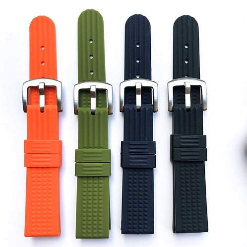 20mm Silicone waffle diver strap soft Black blue orange army green 4 colors