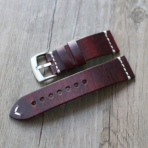 Vintage handmade leather strap Italy Genuine leather 18 20 22 23mm