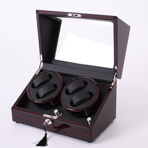 Luxury Watch Winder Piano Wood Display Case Crafted Leather Storage