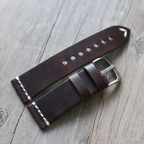 18mm 20mm 22mm 23mm Darkbrown vintage strap handmade Italy leather band