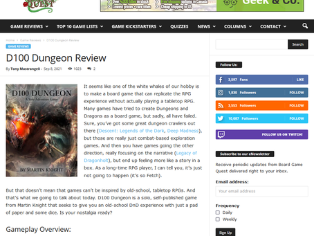 D100 Dungeon Review on BOARD GAME QUEST