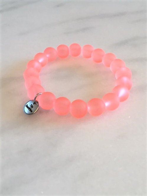 10mm frosted glass: Neon Light Salmon