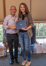 Megan Prager with Dalai Lama's translator, Thupten Jinpa Langri