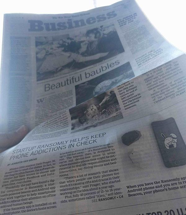 Zack Prager, Mindful Labs, Ransomly, San Diego Tribune