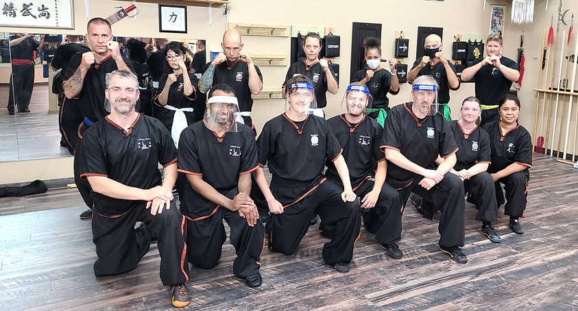 Group picture of graduated students from the kung fu class