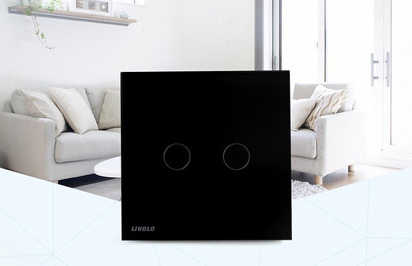 Livolo 2gang full moon touch switch black