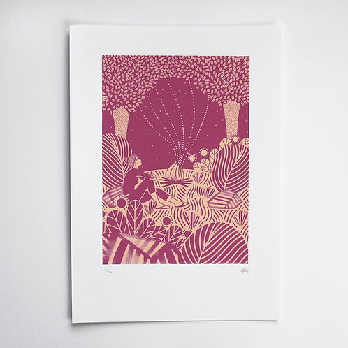 THE ADVENTURERS CAMPFIRE SCREEN PRINT