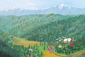An artistic painting of Sunitsch Canyon, home of Tierra Learning Center and Tierra Village