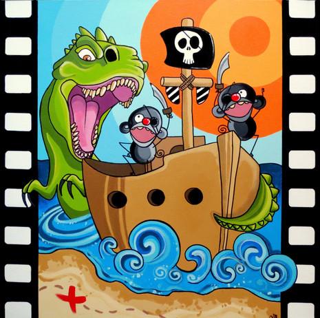 """Pirate Hunt 24 x 24"""" *Sold*"""
