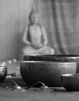 Tibetan singing bowls at re-creation studio, Manchester (Yoga and Sound)