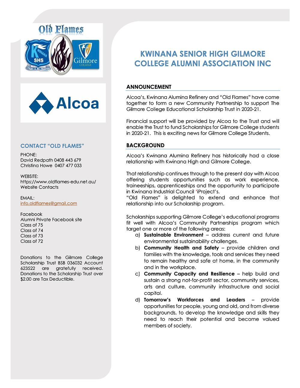 Alcoa Sponsors Alumni Scholarships