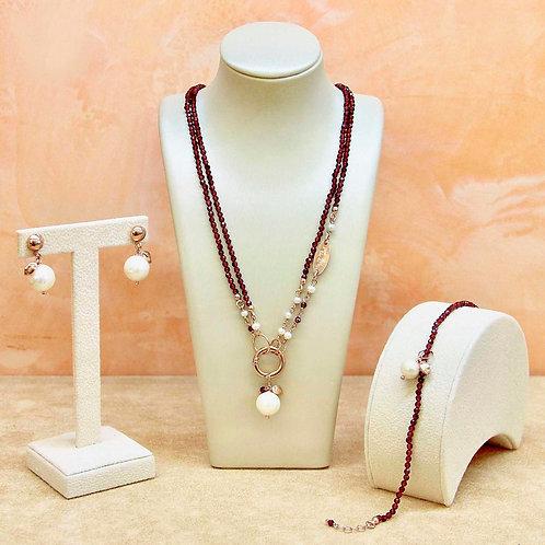 Gioielli granato diamond e perle bianche coltivate - Collezione Le Meline