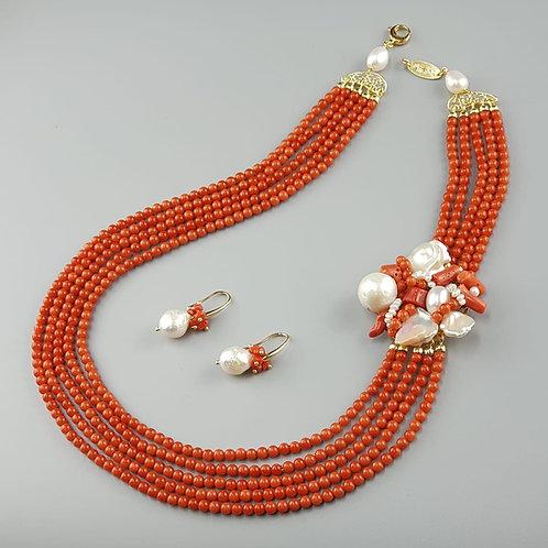 collana e orecchini corallo