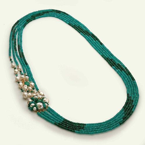 collana lunga verde smeraldo