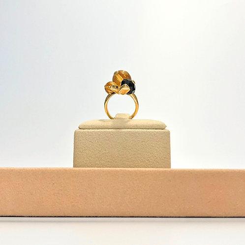 Anello ambra messicana e agata nera - Modello 3 Sfere