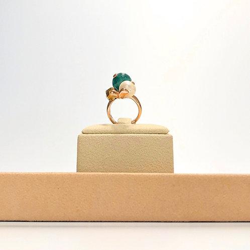 Anello perla coltivata, agata verde striata e quarzo brown - Modello 3 Sfere