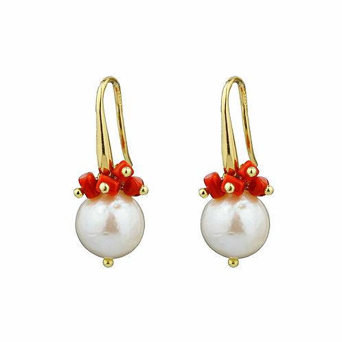 Orecchini perle barocche e corallo rosso sardo