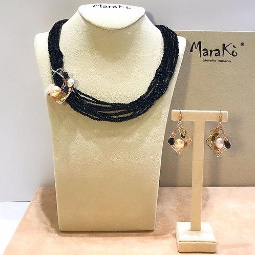 Gioielli agata nera, tormaline e perle coltivate