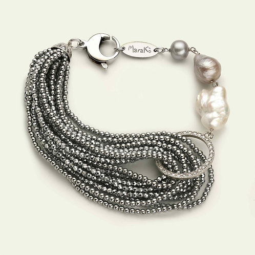 Bracciale ematite argento, zirconi e perle coltivate