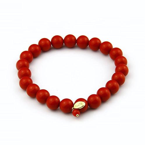 Bracciale elastico corallo bamboo rosso