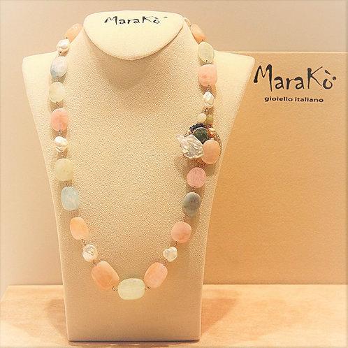 Collana acquamarina multicolor, perle bianche e agata blu zaffiro