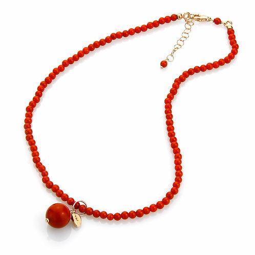 Choker corallo bamboo rosso con ciondolo