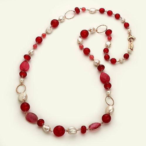 Collana lunga - giada rosa, agata ruby e perle coltivate
