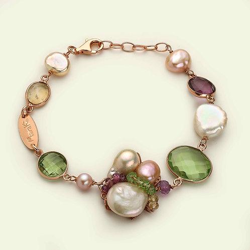 Bracciale ametista, ametista verde, quarzo citrino, peridot e perle