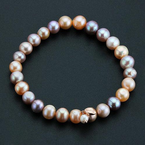 Bracciale elastico perle rosa coltivate 8 mm
