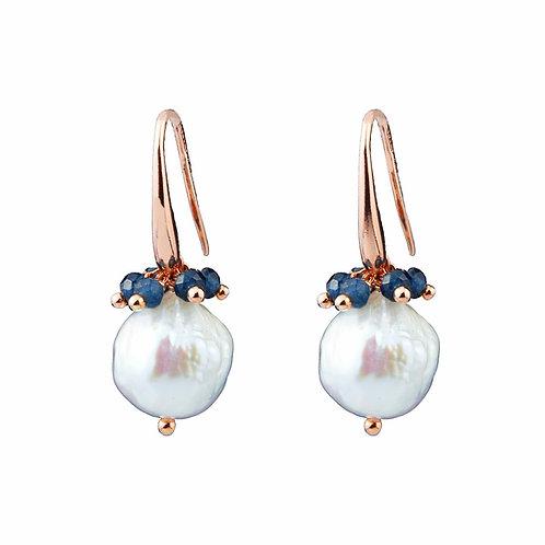 Orecchini perle barocche e agata blu zaffiro