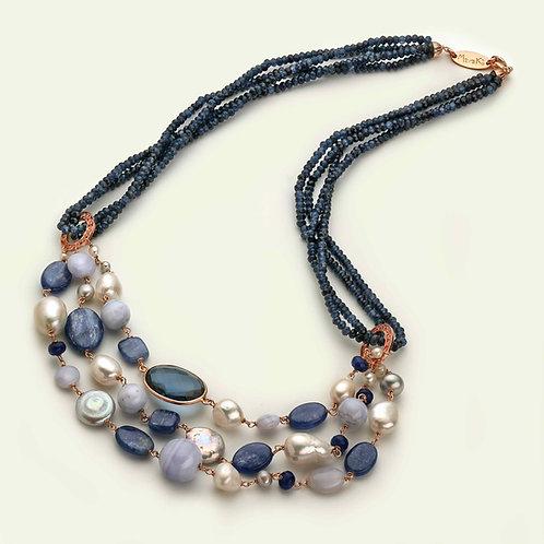 Collana agata blu zaffiro, calcedonio, cianite e perle