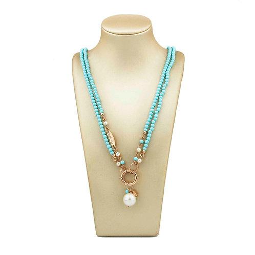 Collana turchese 4 fiori e perle bianche coltivate - Le Meline - special edition