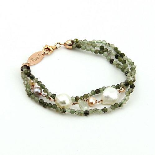 Bracciale quarzo rutilato verde scuro diamond e perle - Collezione Waterlily