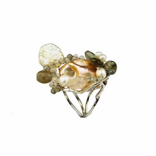 Anello labradorite e perle coltivate