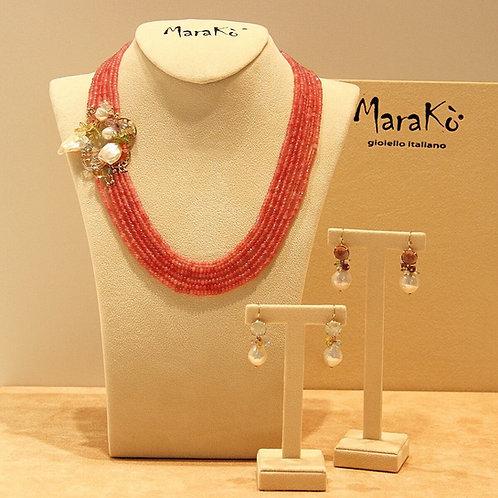Gioielli quarzo ciliegia, quarzi multicolor e perle coltivate - Pezzi Unici