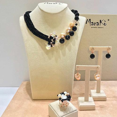 Agata nera e perle coltivate