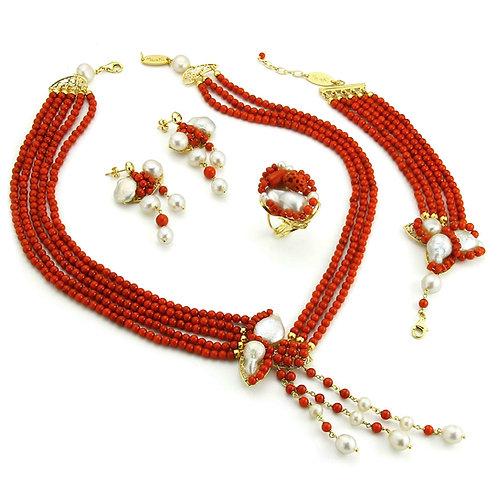 Gioielli corallo bamboo rosso e perle coltivate