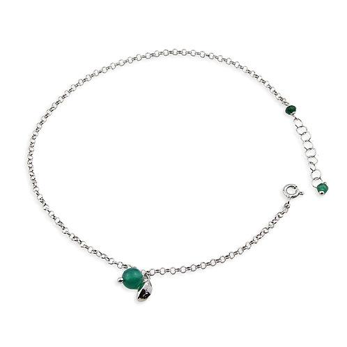 cavigliera argento e agata verde smeraldo