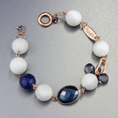 Bracciale / Laterale Scomponibile agata bianca e blu
