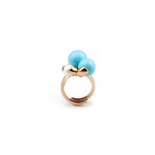 Anello perla coltivata e turchese - Modello 3 Sfere