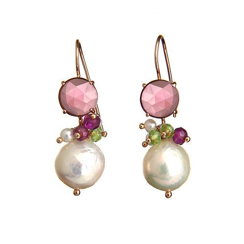 Orecchini ametista idrotermale, quarzi multicolor e perle