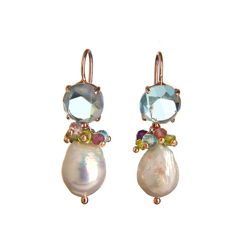 Orecchini quarzo celeste idrotermale, quarzi multicolor e perle