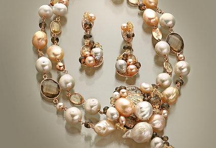 Gioielli Maria Teresa d'Austria. Quarzo citrino, q. fumé e perle - Marakò Art